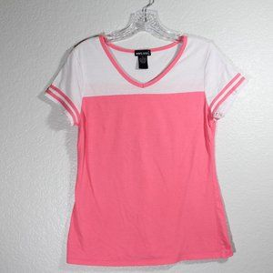 Wet Seal V Neck Short Sleeve Tee Two Toned Large